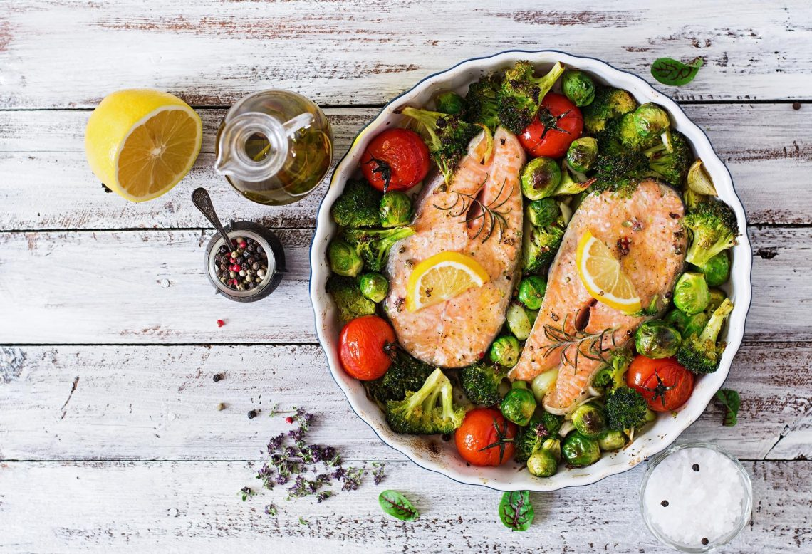 Baked salmon steak with vegetables recipe