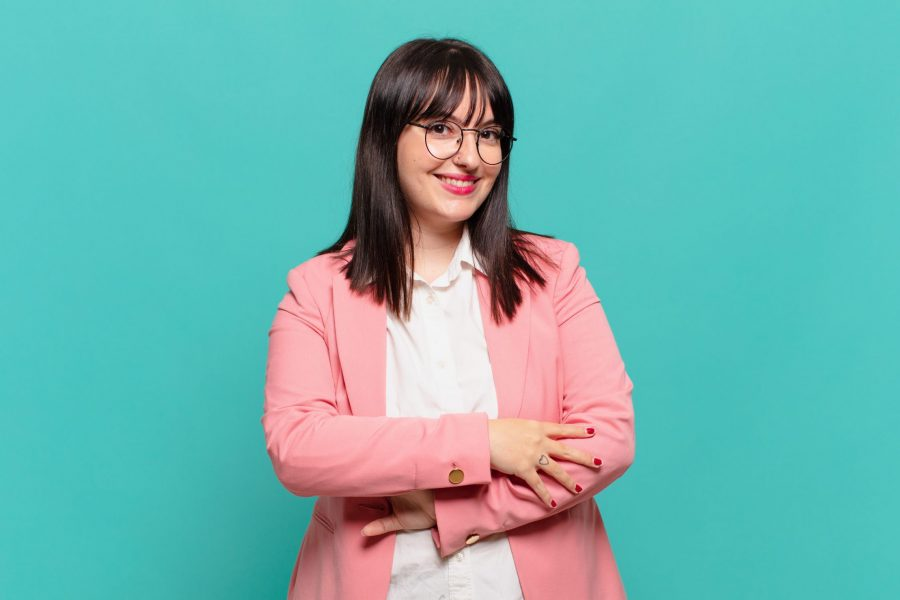 Happy plus size woman wearing office clothes